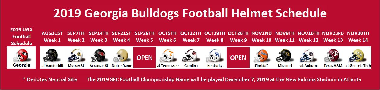 2019 Georgia Football Helmet Schedule